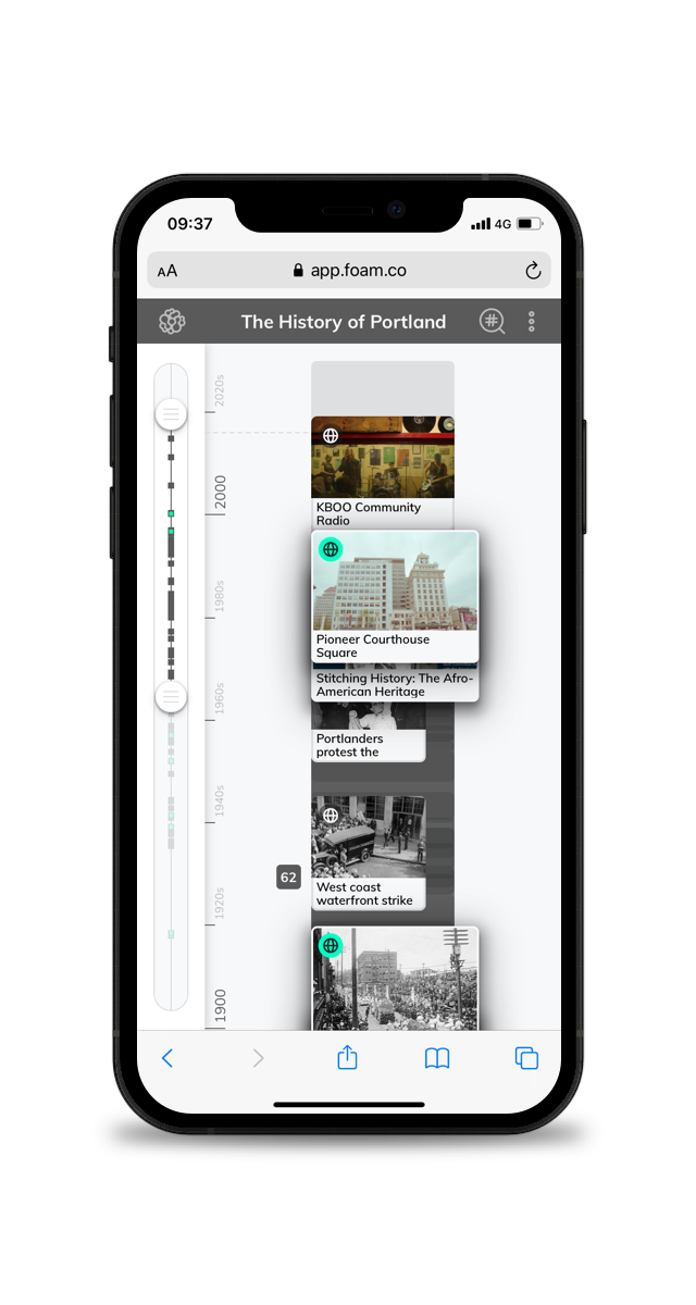 A picture of a timeline for cities on a smartphone
