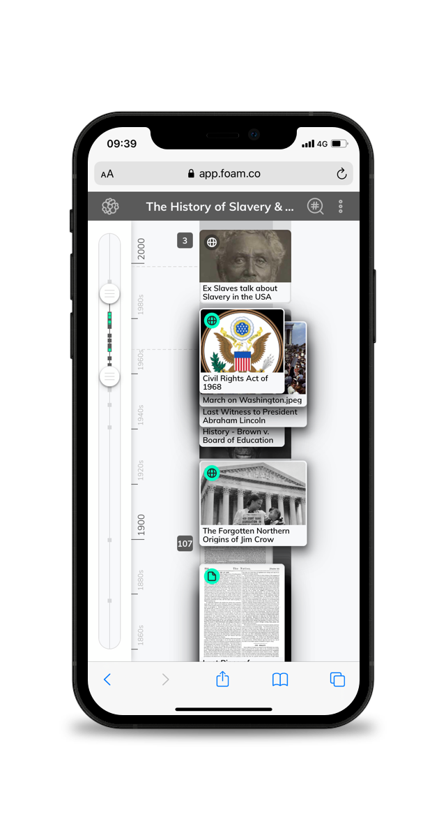 A picture of a timeline for teachers on a smartphone