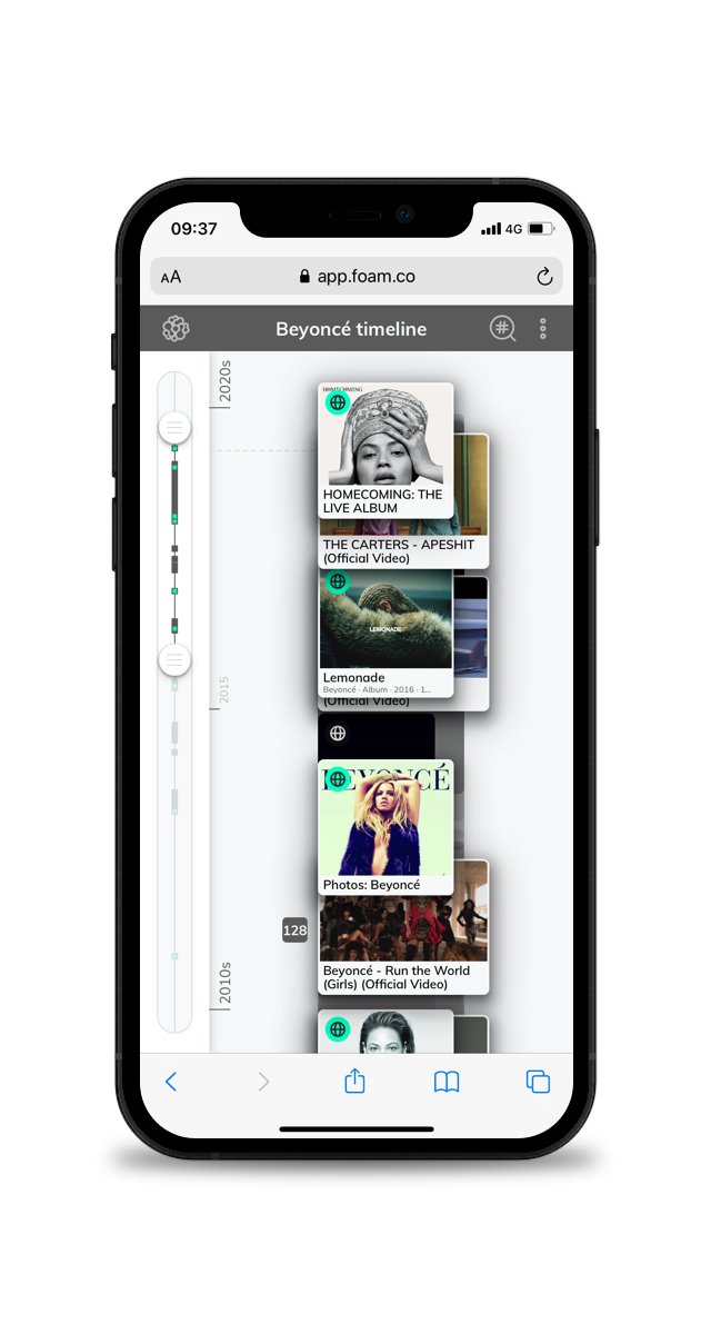 A picture of a timeline for biographers on a smartphone