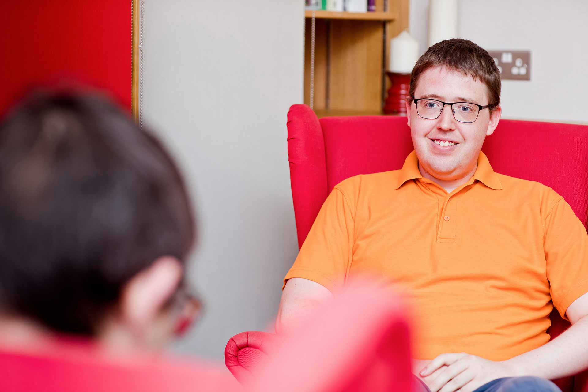 The counsellor David Sullivan talking with a client