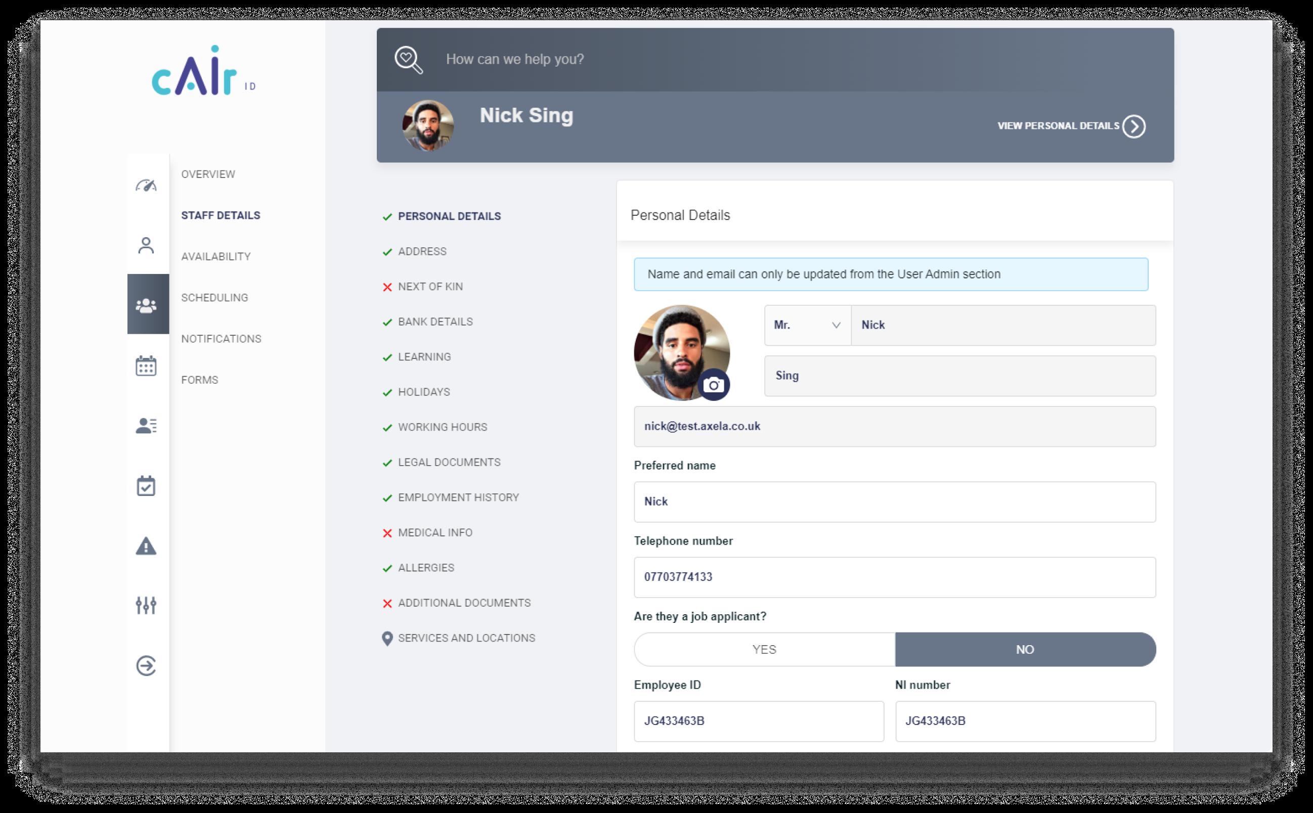CAir:ID HR screen