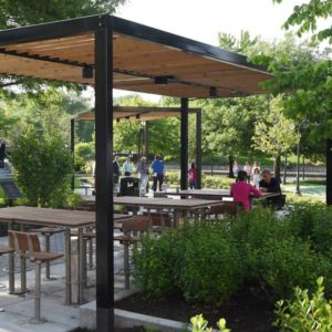 This open air workspace in naperville illinois is a great example of using landscaping to improve employee satisfaction.