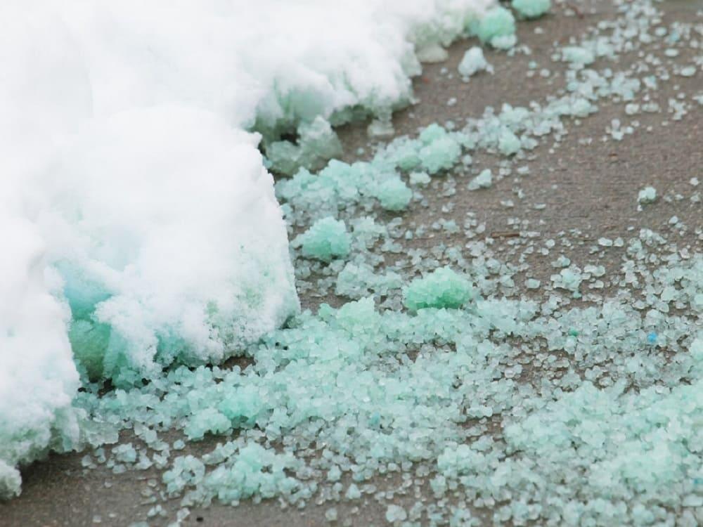 salt on the ice