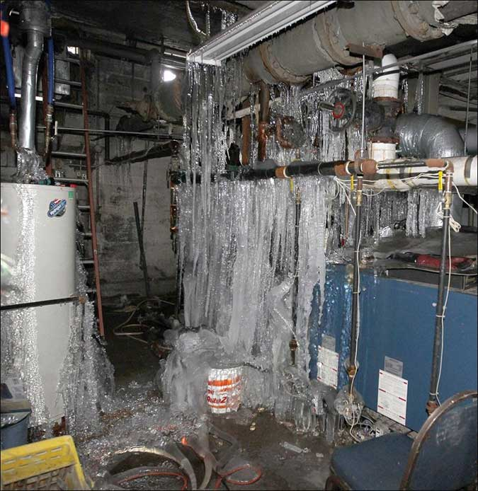Water pipes bursting and freezing in a winter storm.
