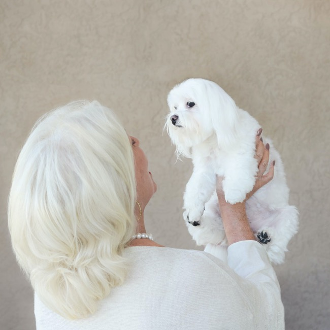 Woman holding small white dog in the air