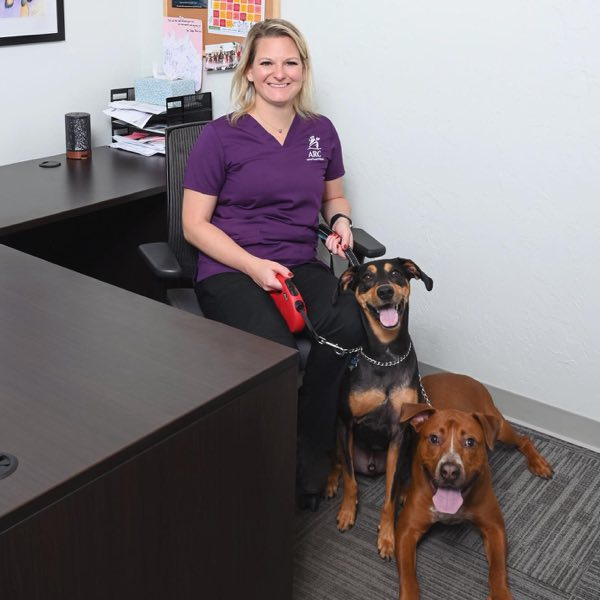 Staff member in office with two dogs