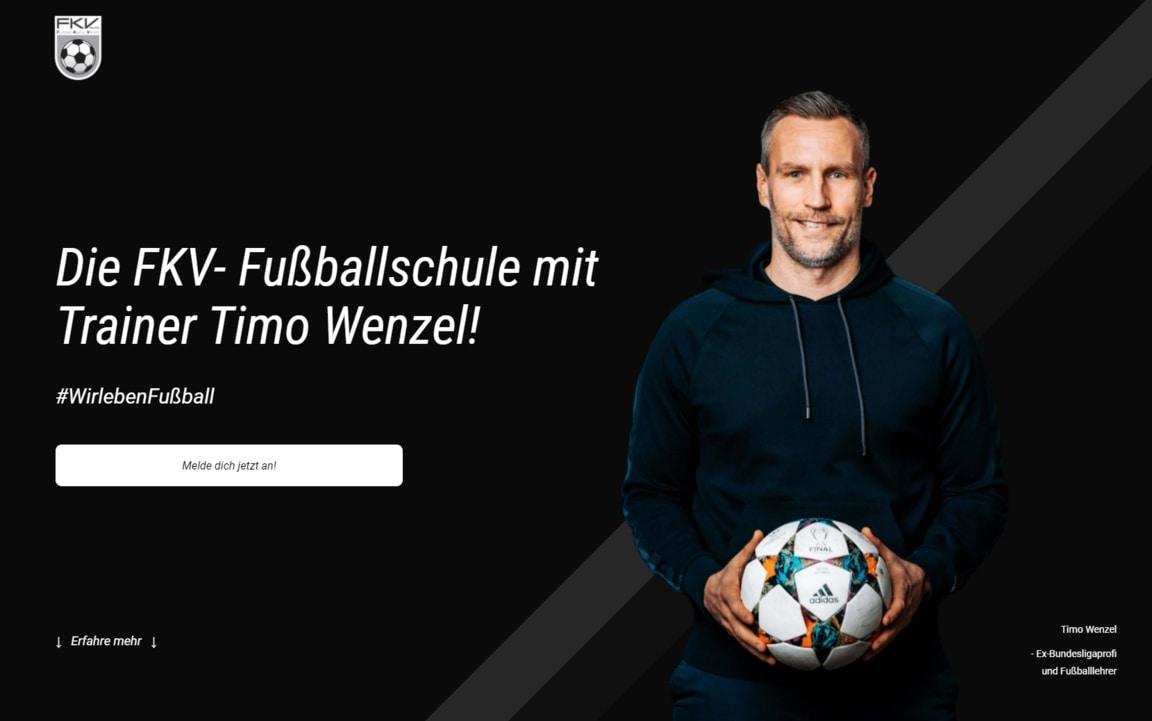 Hero Section of the FKV Football School Website (fkvfussballschule.de)