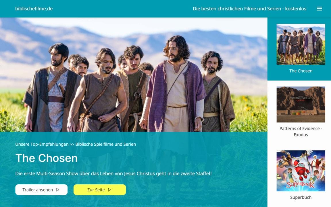 Hero-Section of the Website biblischefilme.de