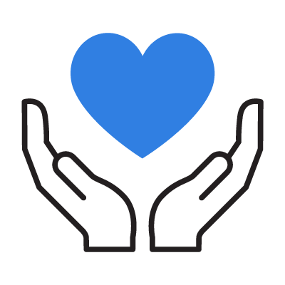 Icon of hands cradling a heart symbol representing positive outcomes.