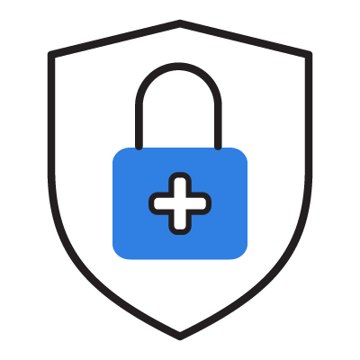 Icon of a shield containing a lock with a positive symbol (health symbol) on it representing patient safety.