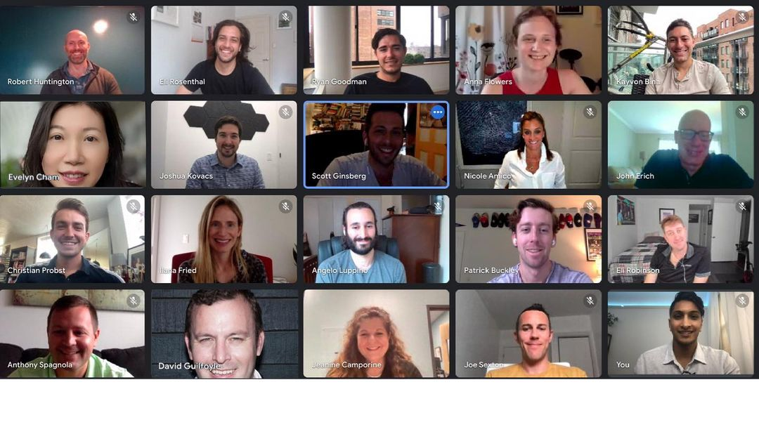 The Metric Collective team meeting on a Zoom call to discuss franchising.