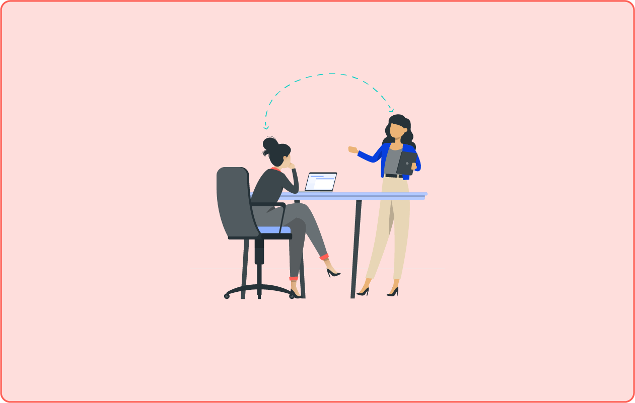 An illustration of two women at a desk discussing and relaying information.