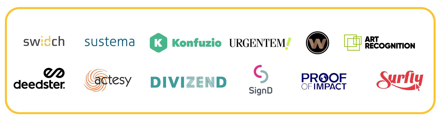 Logos of startups Swidch, sustema, konfuzio, urgentem!, deedster., actesy, divizend, signD, proof of impact, surfly, weave.ai, art recognition