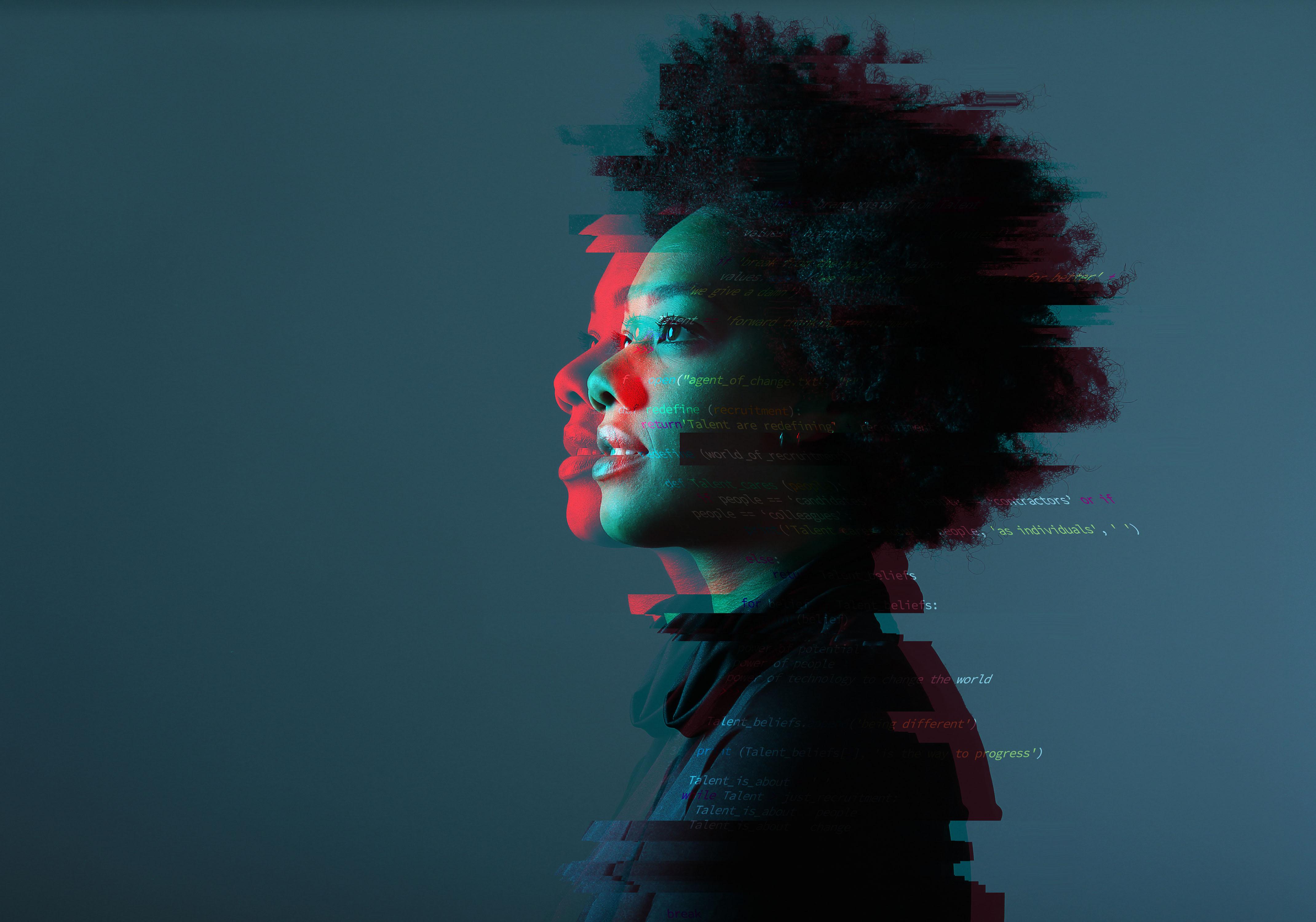 An optimistic woman with a glitchy code overlay