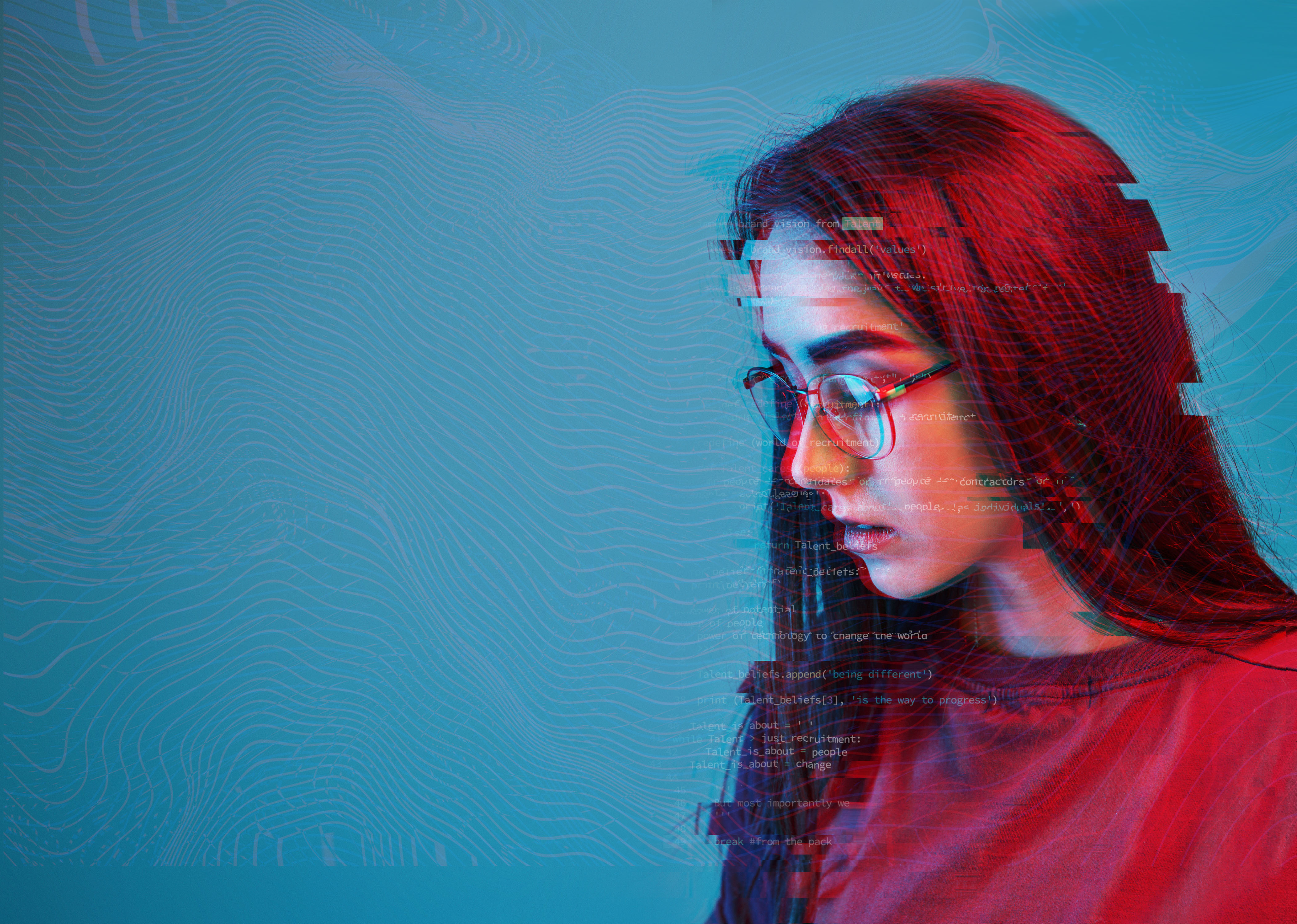 Woman with glitchy code overly