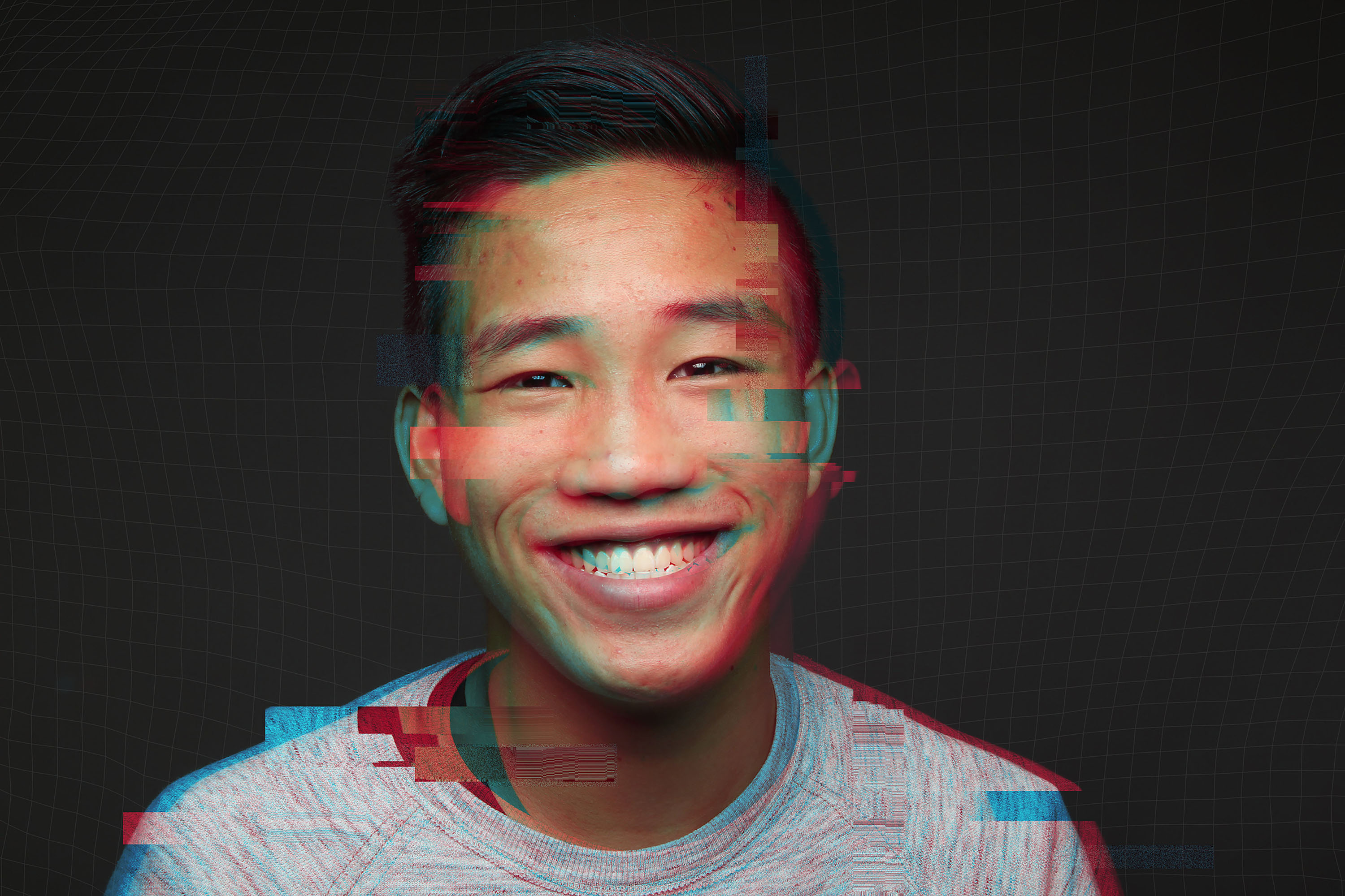 A happy man with a glitchy overlay