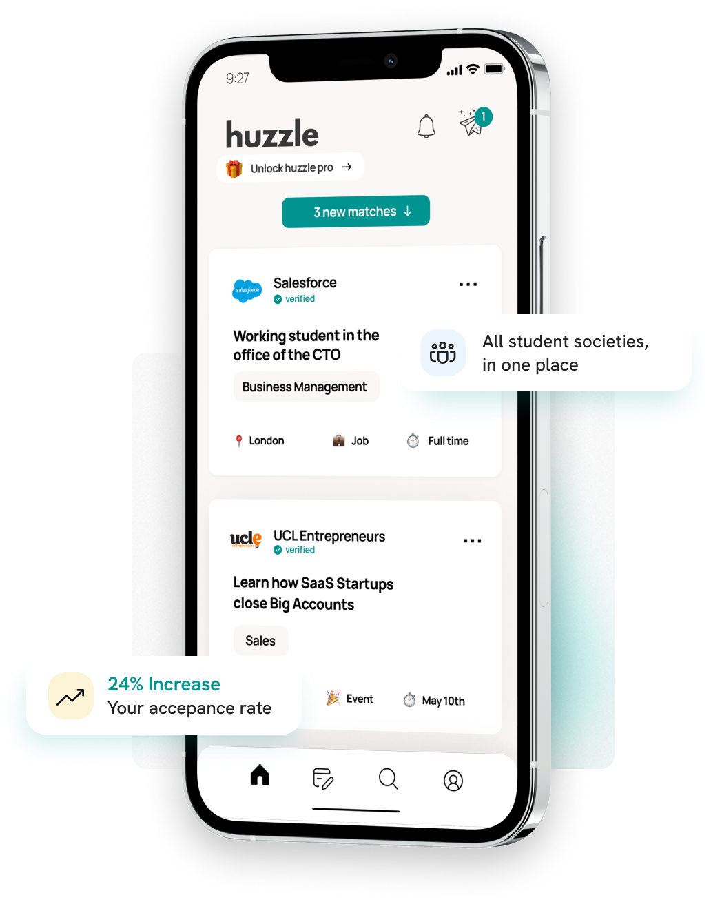 huzzle student mobile app home feed demo