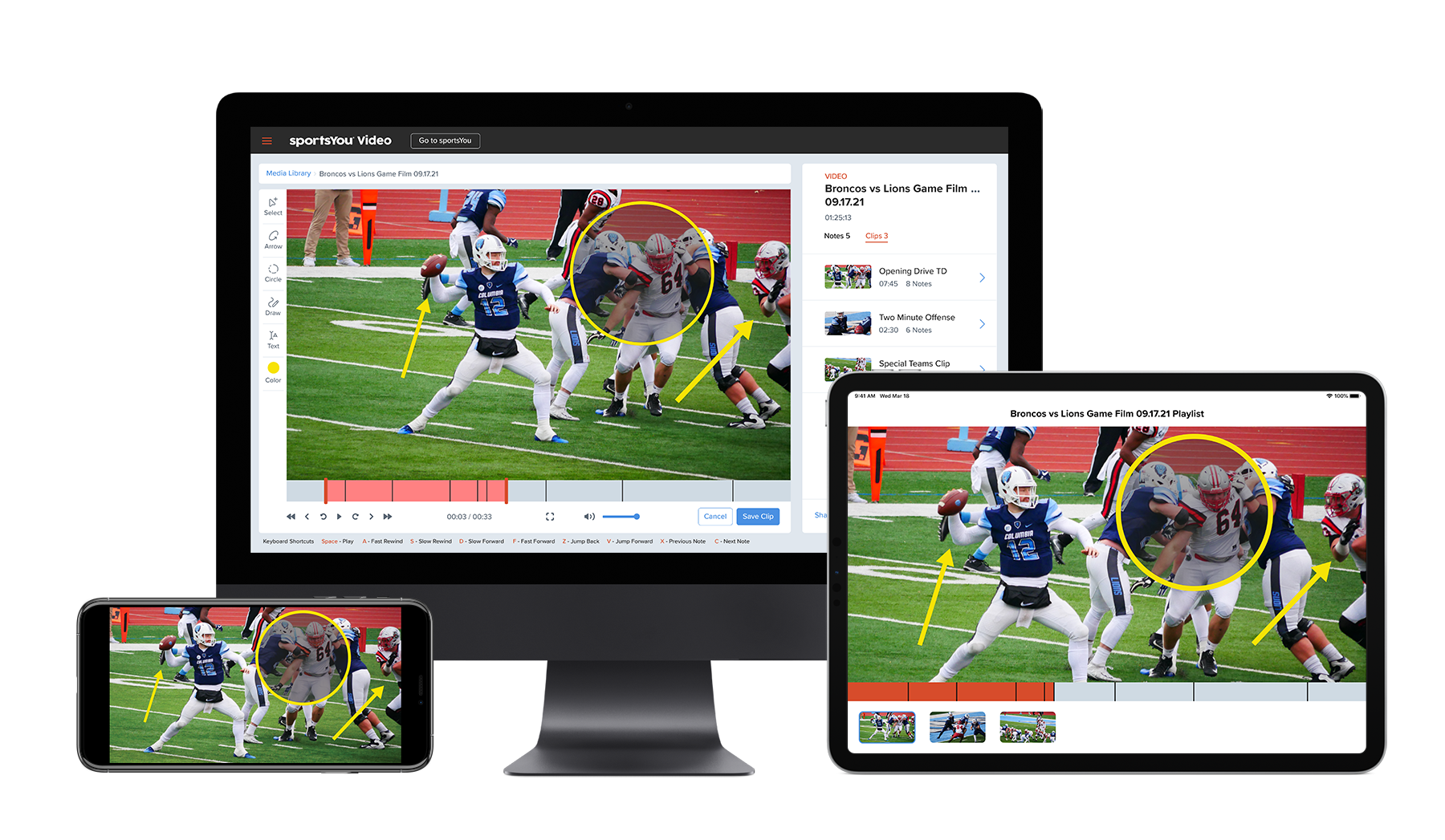 sportsYou Video app on different devices.