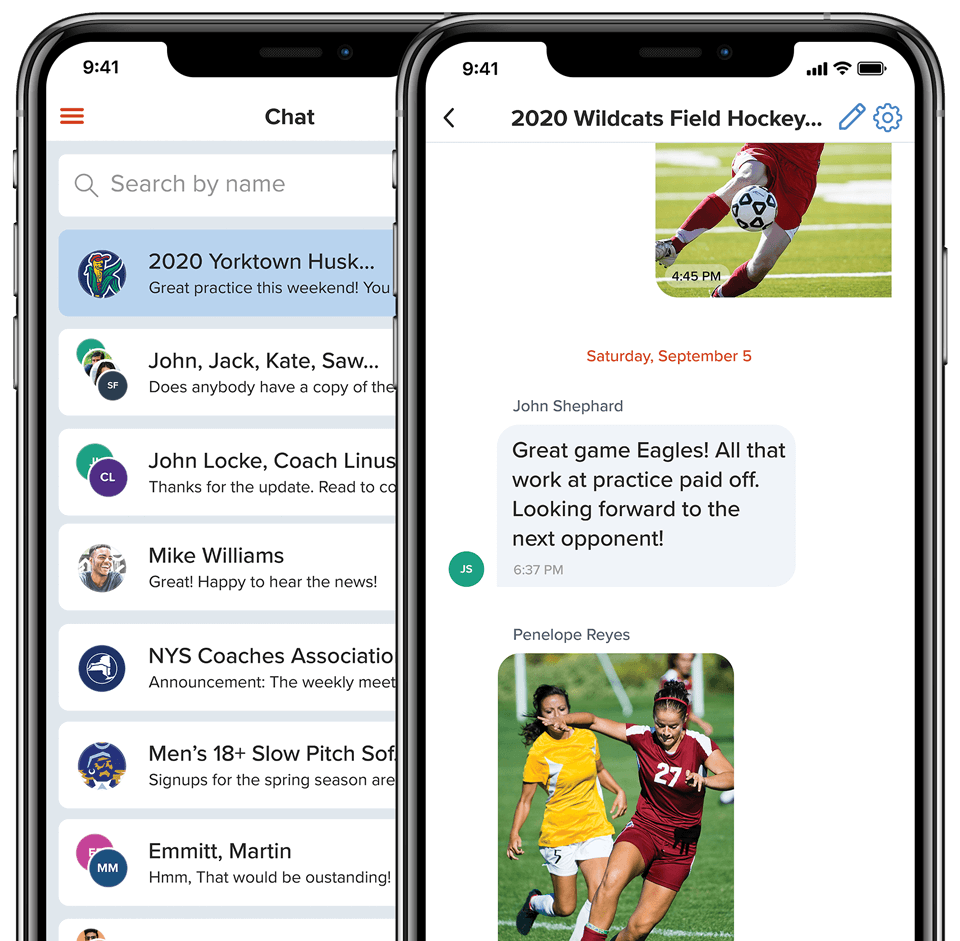 sportsYou Chat feature to stay in touch with friends or teammates