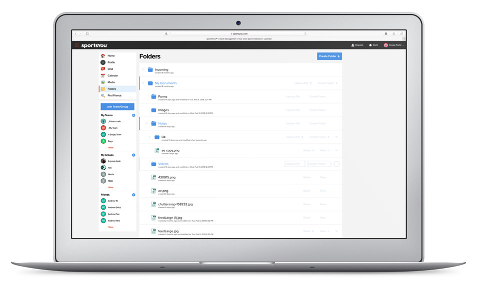 sportsYou Folders to manage and share files to your teams or groups