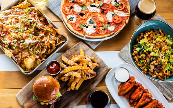 Burgers, Chicken Wings, Pizza, Salad, French Fries, Beer, Nachos and Wine
