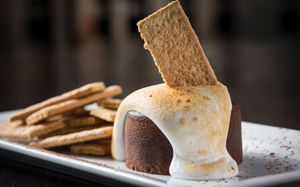 Deconstructed S'mores cake WhirlyBall Pivot Room