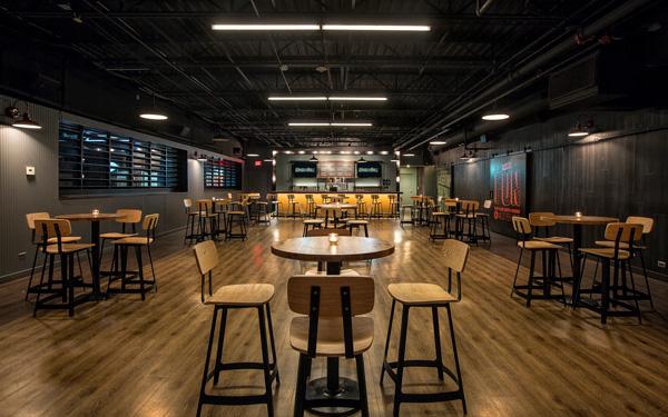 Pub tables at WhirlyBall Vernon Hills bar