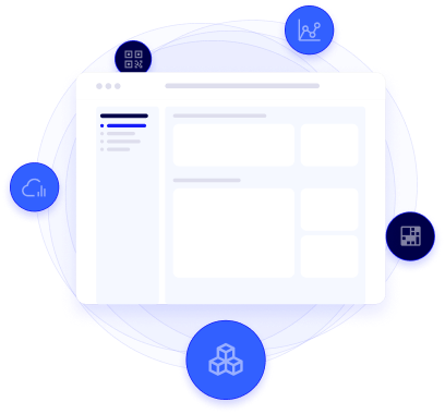 illustration of an dashboard surrounded by app icons