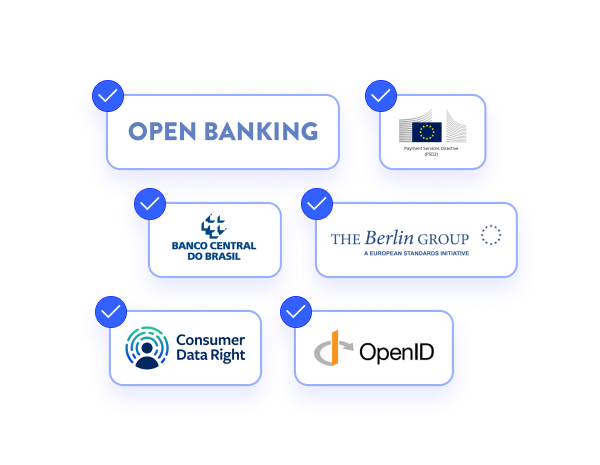Logos of a variety of Open Banking and Financial API standards that the Oolys platform is compliant with