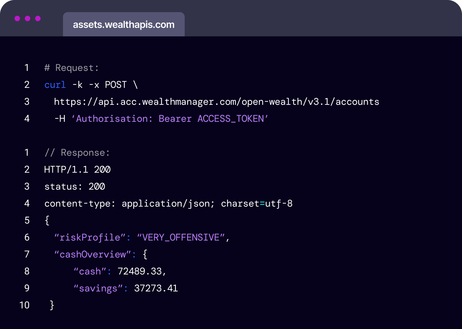 Code snippet demonstrating the data for a wealth management customer being requested via an API call