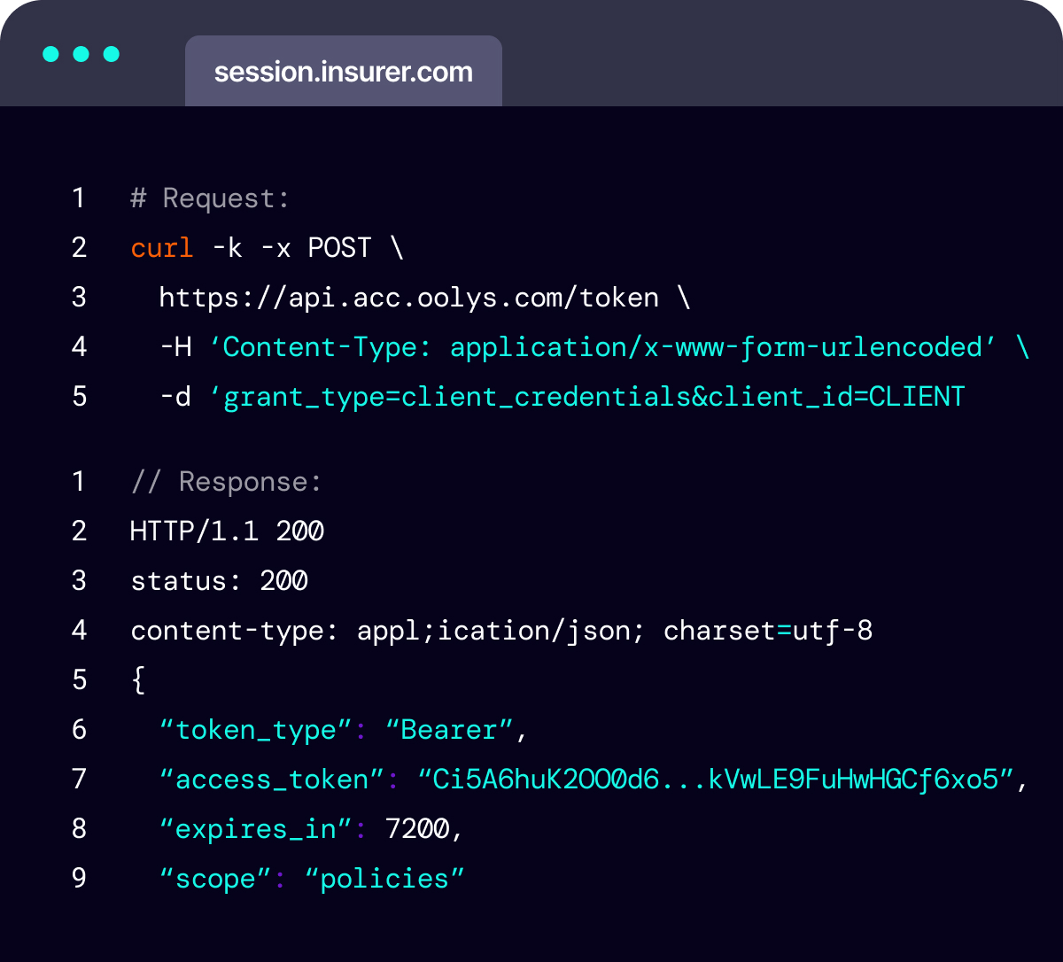 Code snippet demonstrating an Insurance quote being retrieved via an API call