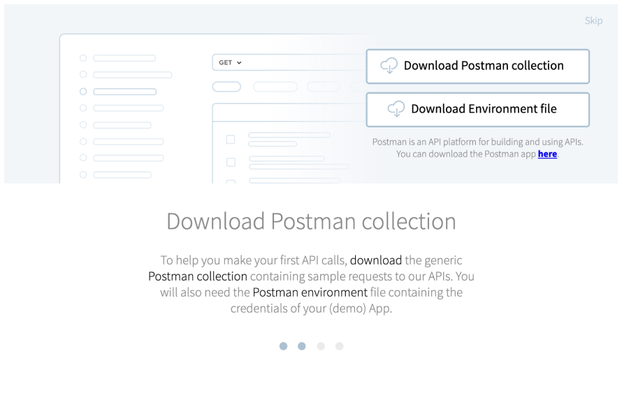 A screenshot of an onboarding flow  with graphics demonstrating a user downloading a Postman collection
