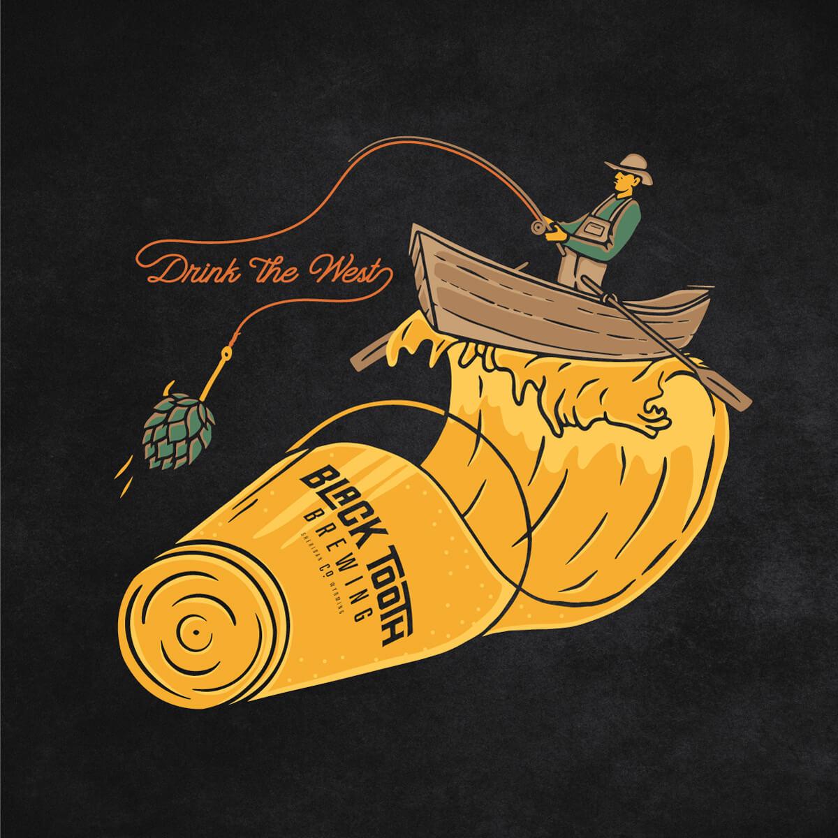 Blacktooth Brewing in Sheridan, Wyoming rafting, fly-fishing t-shirt design