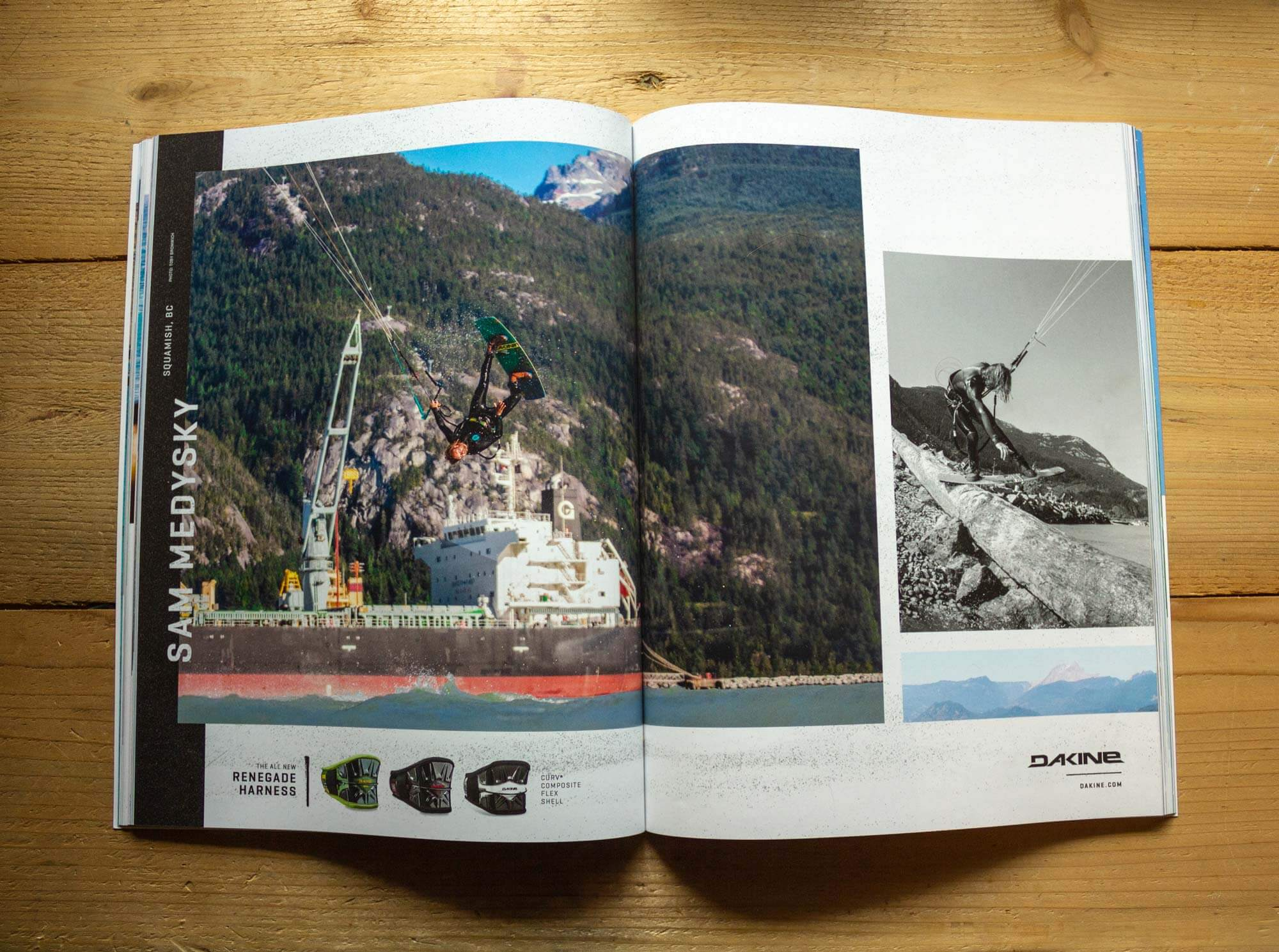 Dakine magazine spread layout design for The Kiteboarder Magazine