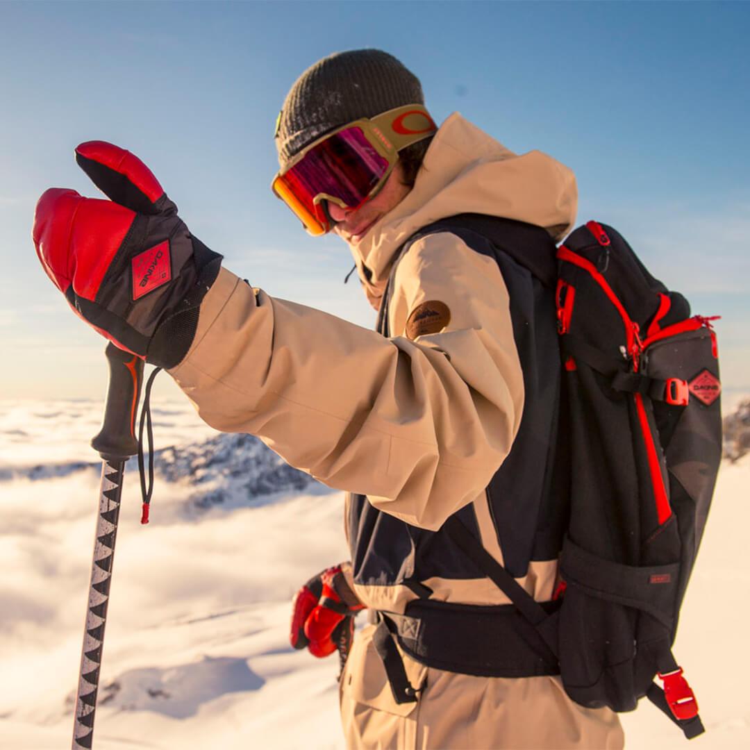 Dakine Sammy Carlson pro model gloves and backpack
