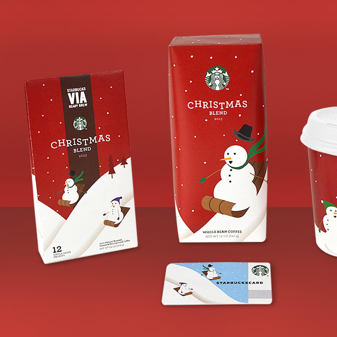 Starbucks seasonal christmas campaign coffee packaging design