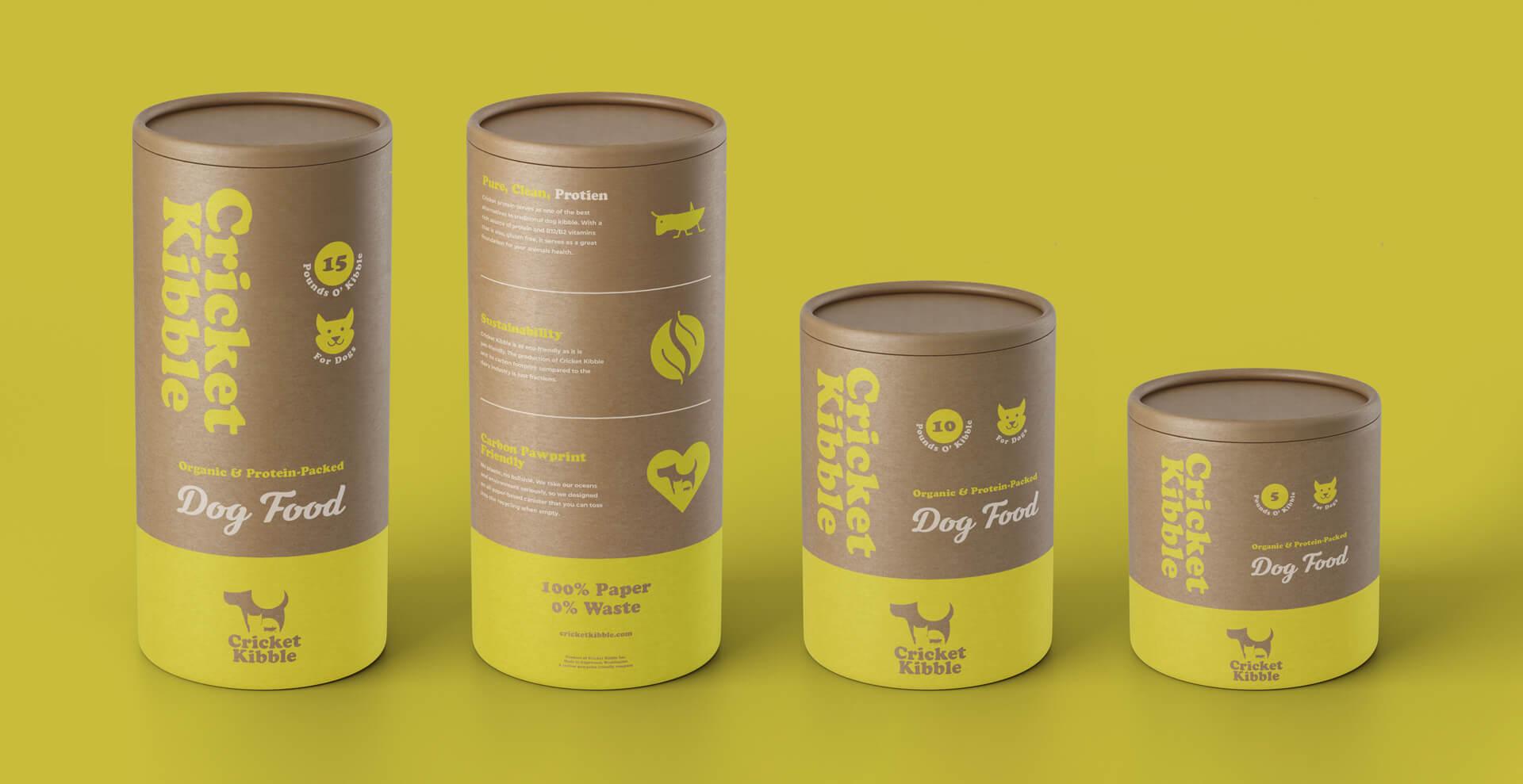 Cricket Kibble full line of tube packaging design dog food