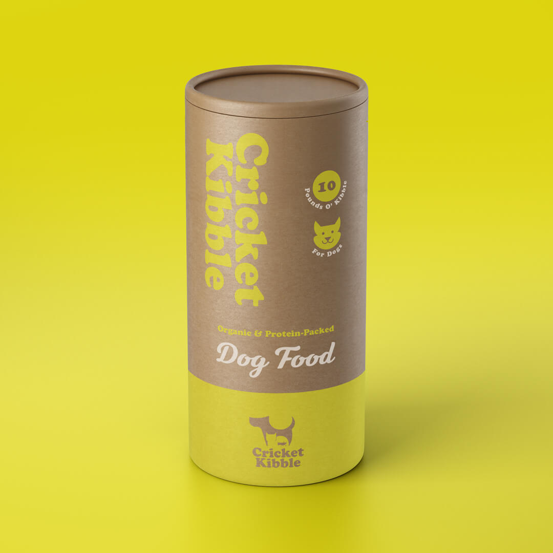 Cricket Kibble front of tube packaging design