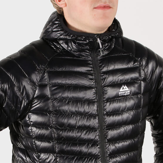 Mountain Hardwear logo identity design front of puffy jacket