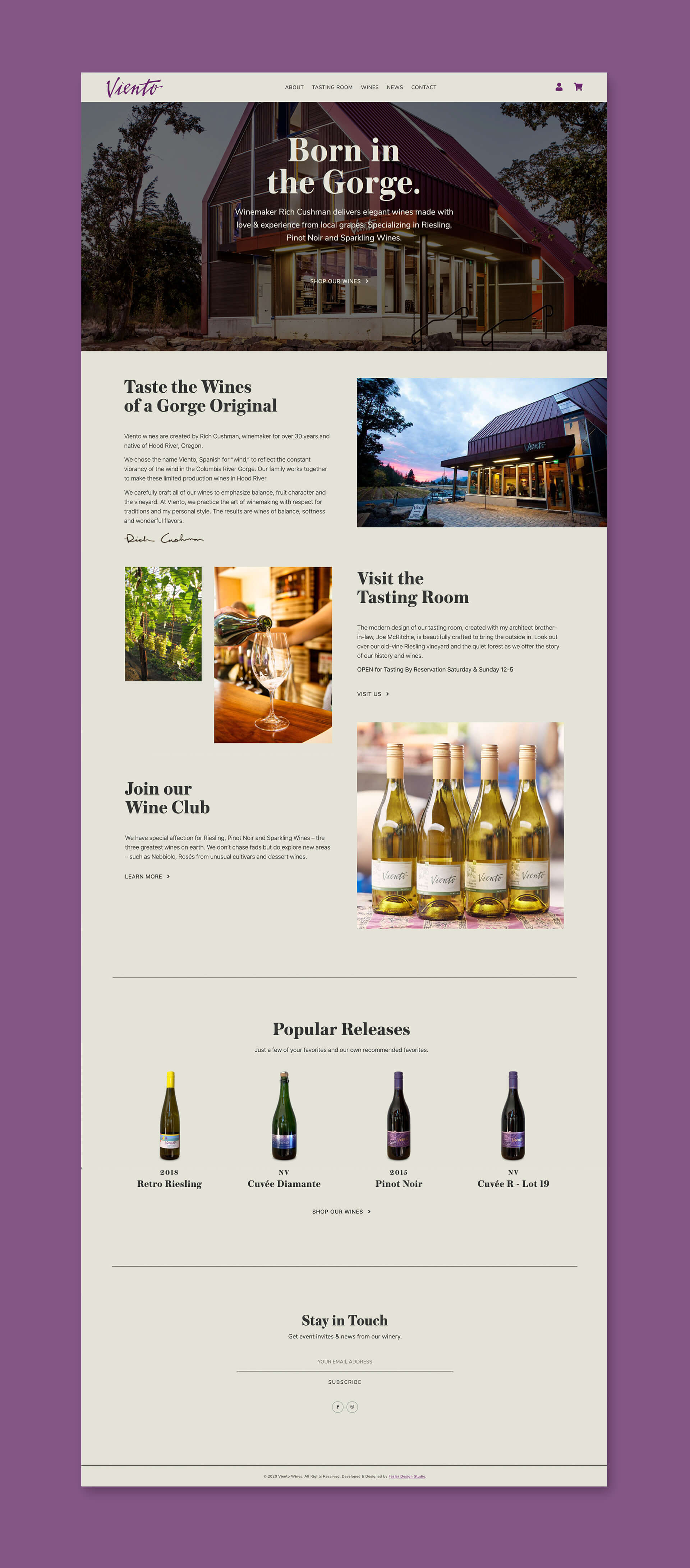 Viento Wines website design homepage mockup