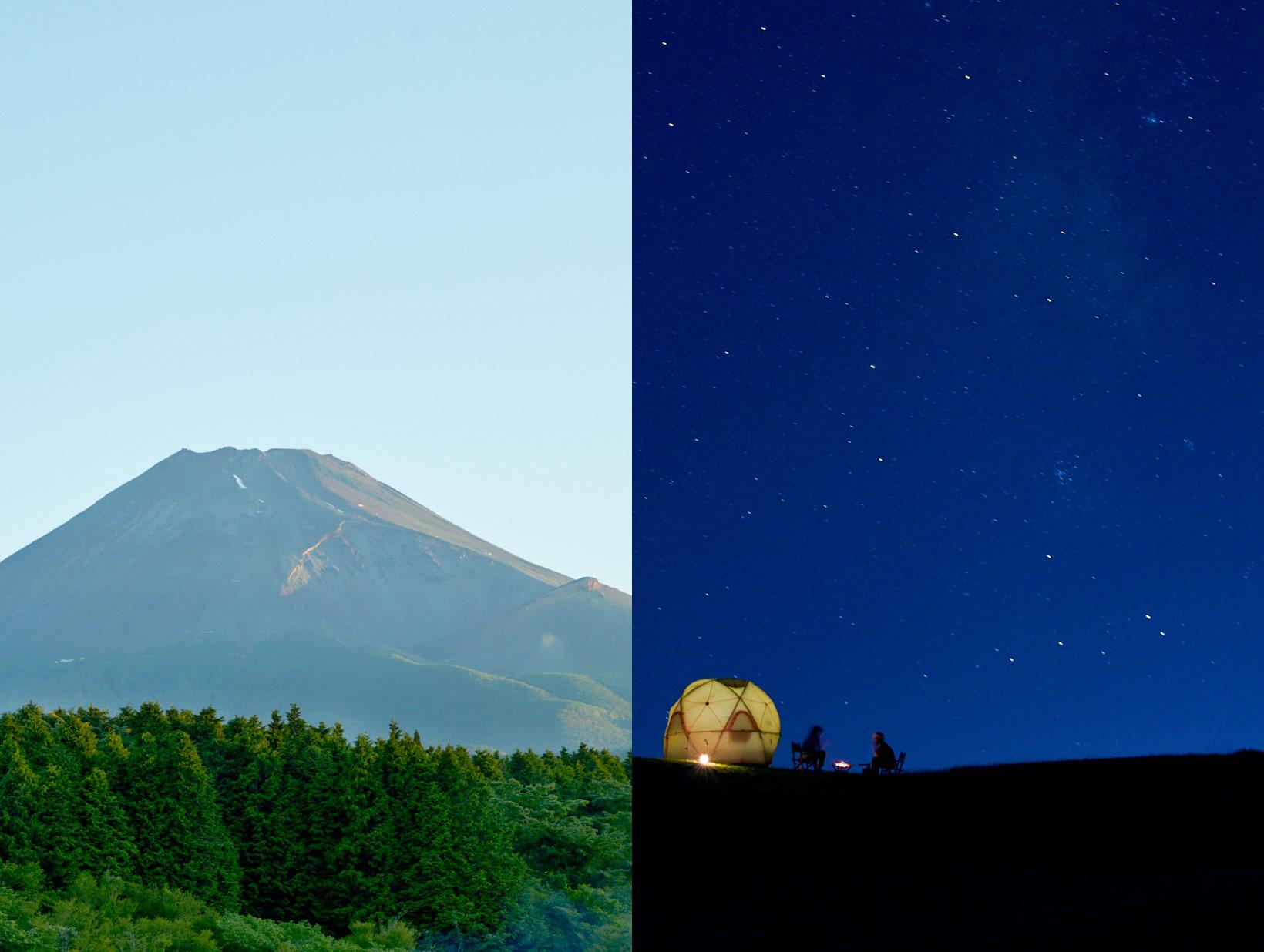 富士山の袂でキャンプをしている、昼と夜の画像