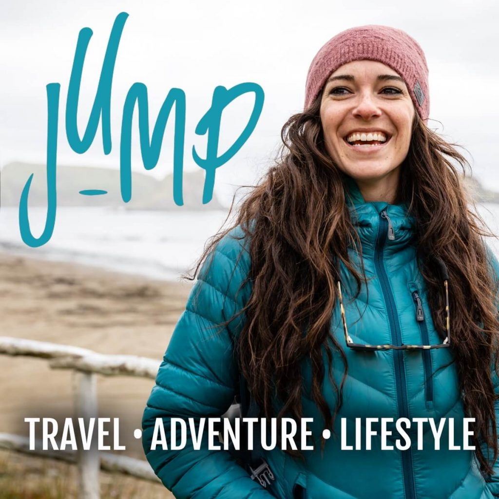 Jump With Traveling Jackie. One of the best travel podcasts to listen to.