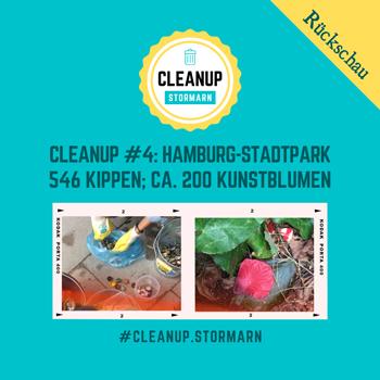 CleanUp-Aktion im Stadtpark in Hamburg mit vielen gesammelten Kippen und Kronkorken