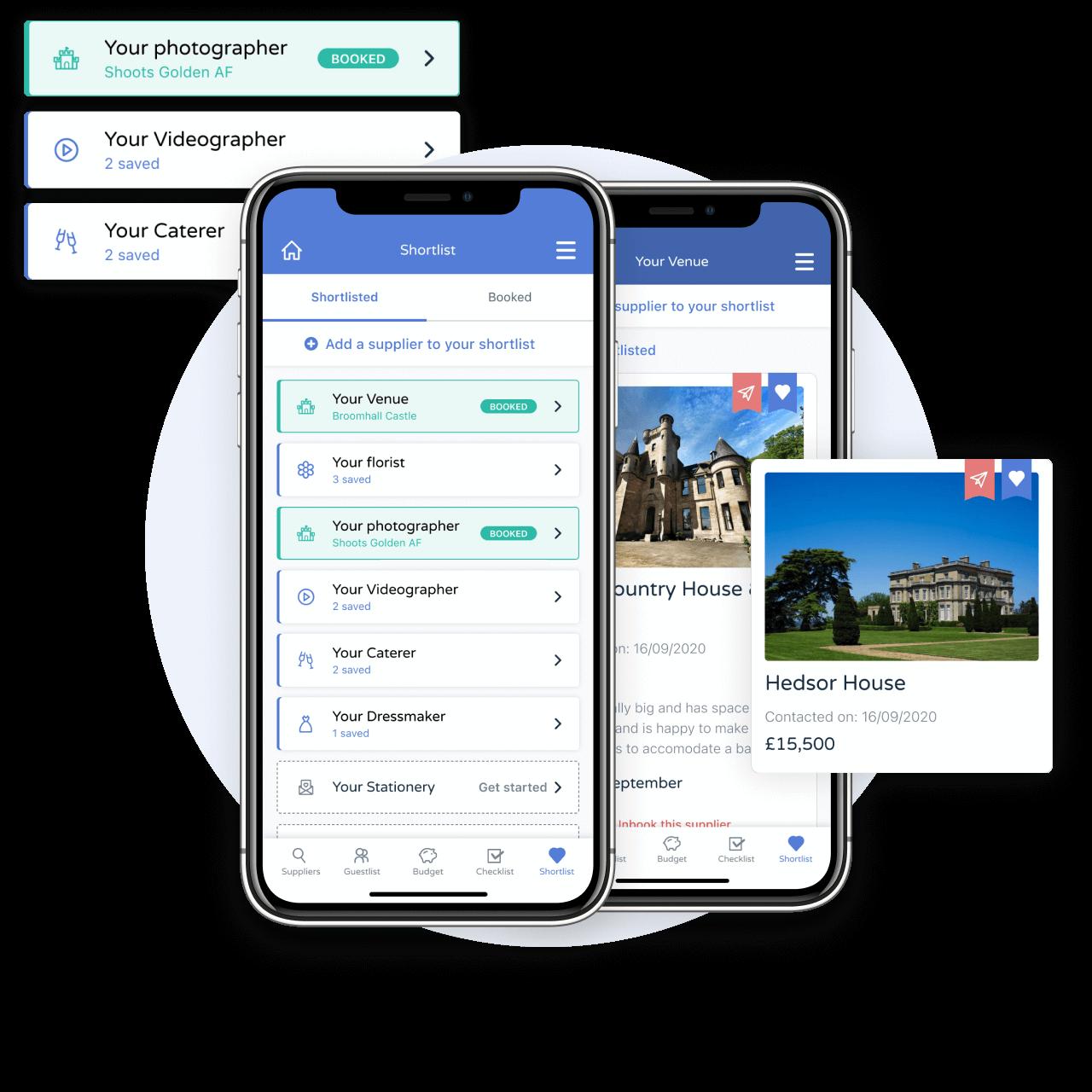 Free wedding planning app - Supplier shortlist