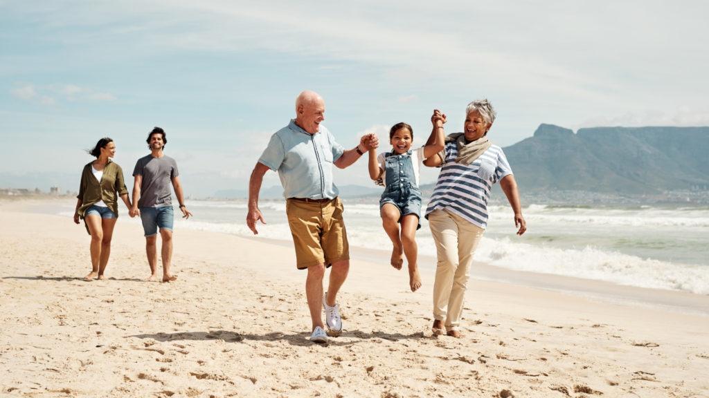 Patients having fun on the beach