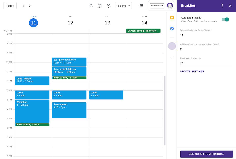 Breakbot example on Google calendar.