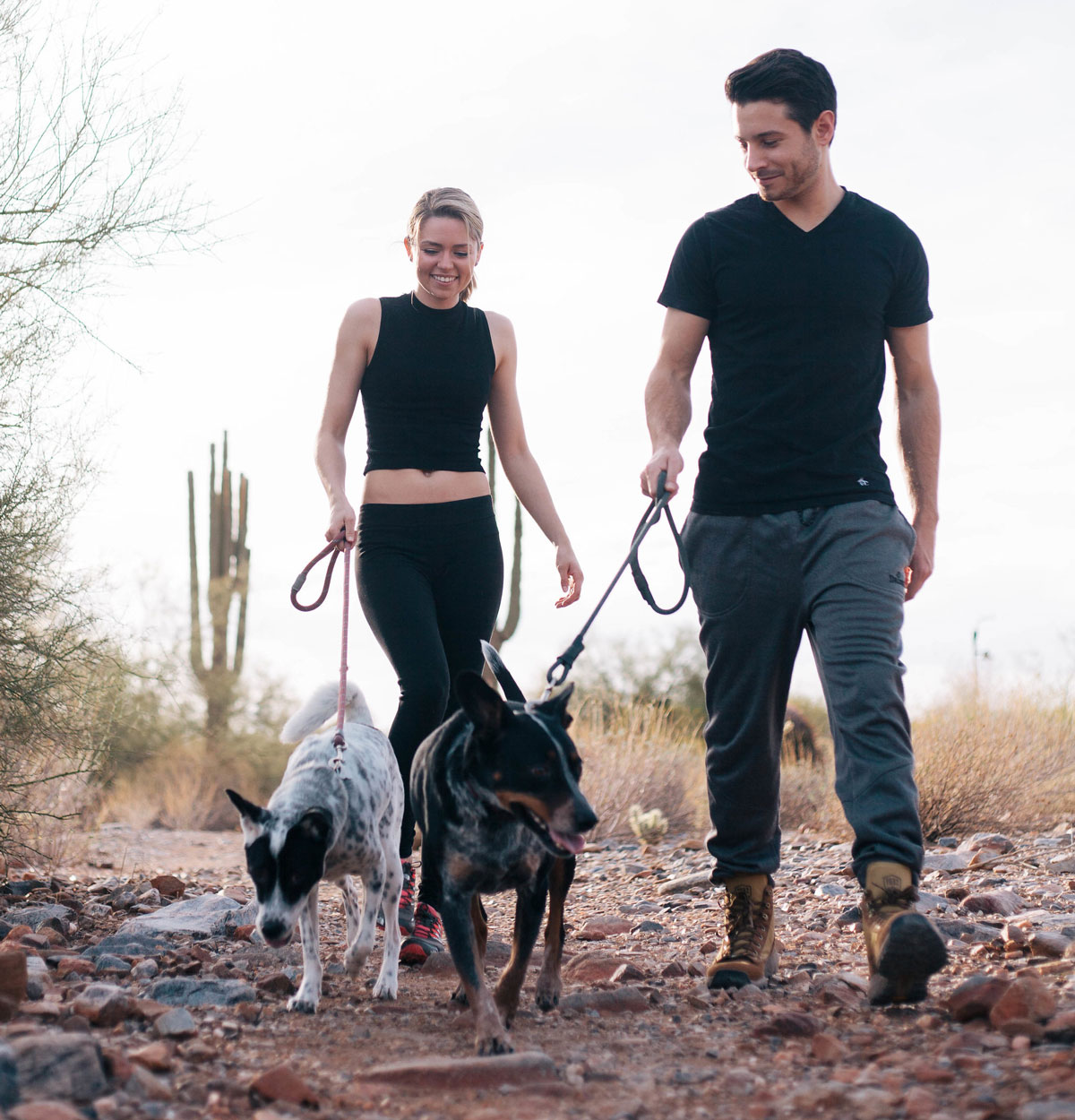 Jonathan walking with is wife and rescue dogs.