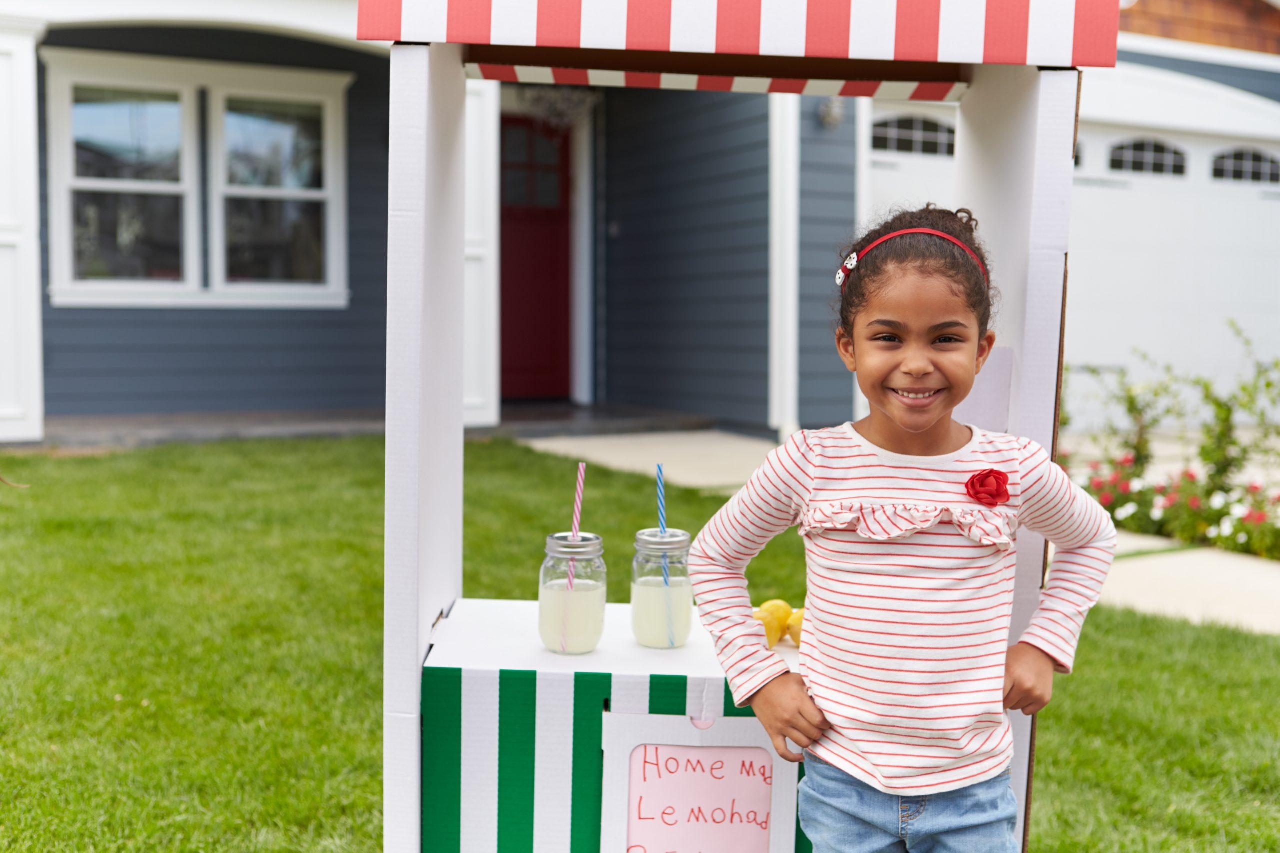 Girl Running Homemade Lemonade Stand|||||