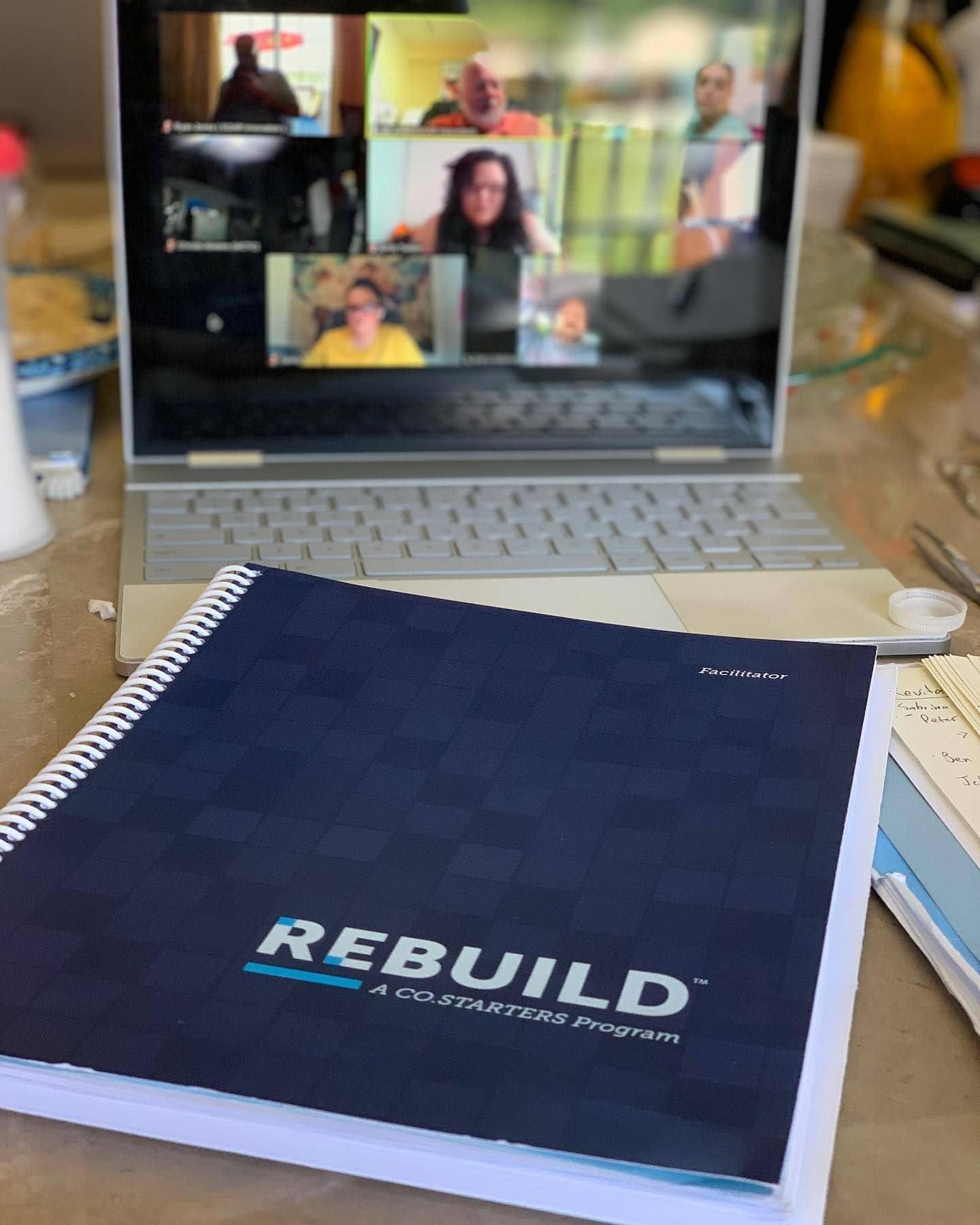 Close-up of the Rebuild facilitator manual.