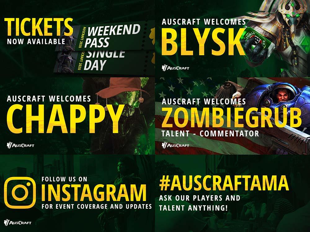 Auscraft starcraft 2 social media announcement designs